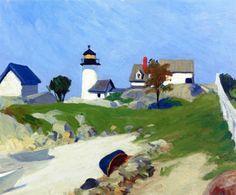 Edward Hopper, Squam Light, 1912 on ArtStack American Realism, American Artists, American Life, Edouard Hopper, Edward Hopper Paintings, Ashcan School, Robert Rauschenberg, David Hockney, Colors