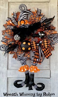 XL Halloween Witch Wreath, Fall Wreath, Halloween Decor, Witch Decor, Animal Print Witch, Halloween Party, Halloween Door Halloween Fabric Crafts, Halloween Witch Wreath, Halloween Deco Mesh, Halloween Trees, Halloween Party, Skeleton Decorations, Halloween Decorations, Fall Decorations, Deco Wreaths