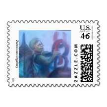 """Zazzle.com/ctgallery Package USPS Postage Stamps and More.  16 Stamps to choose from.  """"Working Man,"""" Artwork by Nicole Dubiel"""