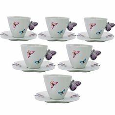 Jogo 6 Xícaras De Porcelana  P/ Cha Borboletas Wolff - 1155 - R$ 212,63 em Mercado Livre
