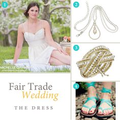 Fair Trade Wedding: The Dress — style board for the tea length fair trade wedding dress from Celia Grace