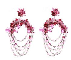 UNSIGNED PINK BEADED HOOP EARRINGS