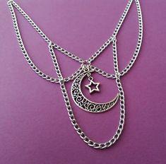 ☽☽ crescent moon and star choker by OfStarsAndWine on etsy ☽☽pastel goth alternative fashion