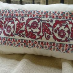 Long Bolster Cushion Cover from antique Transylvanian Embroidery-parna