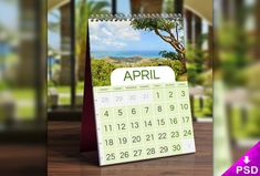 Table Calendar Mockup Free PSD