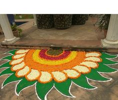 50 Most Beautiful Flower Rangoli Designs (ideas) that you can make during any occasion on the living room or courtyard floors. Simple Rangoli Kolam, Easy Rangoli Designs Diwali, Indian Rangoli Designs, Simple Rangoli Designs Images, Rangoli Designs Latest, Rangoli Designs Flower, Small Rangoli Design, Rangoli Ideas, Rangoli Designs With Dots