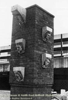 Pillar with Famous Heads, 1978 Bus Station, Train Station, Shopping Center, Nottingham, Family History, Mount Rushmore, Centre, Street Art, The Past