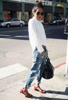 look calça boyfriend camisa