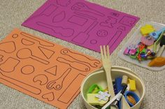 Work on shape recognition by making your own DIY shape matching game! Talk about the shapes and items as you play.