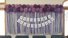 """""""Cute as a Button"""" Purple and Grey Baby Shower - Table Cloth Backdrop with Tissue Paper Poms and a Paper Banner   MakeItYelloh.com"""