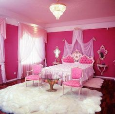 Pink princess bedroom.