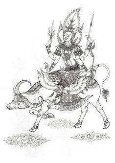 พระอังคารทรงกระบือ Sak Yant Tattoo, Thai Design, Thai Tattoo, Anime Expressions, Buddha Art, Thai Art, Thai Style, Chinese Zodiac, Artist Painting