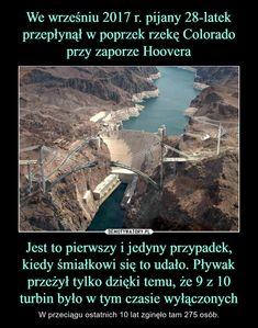 Jest to pierwszy i jedyny przypadek, kiedy śmiałkowi się to udało. Pływak przeżył tylko dzięki temu, że 9 z 10 turbin było w tym czasie wyłączonych – W przeciągu ostatnich 10 lat zginęło tam 275 osób. Funny Mems, Pandora Hearts, Best Memes, Fallout, Trivia, Poland, Everything, City Photo, Lol