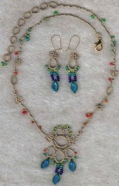 117 by Yarnplayer on Flickr: Tatted necklace with beads. #tatting #jewelry earrings
