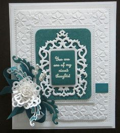 A real stunner in White and Teal by the Queen of Spellbinders, the lovely Sue Wilson of Particraft/Creative Expressions.