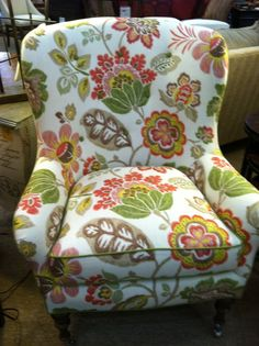 Wing Chair with GH fabric Look at that pattern matching from cushion to boxing to nose of chair. Greenhouse Fabrics, Blue And White Fabric, Pattern Matching, Chair Makeover, Wing Chair, Beautiful Patterns, Wingback Chair, Accent Chairs, Upholstery