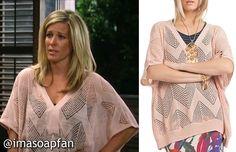 I'm a Soap Fan: Carly Corinthos Jacks's Pink Pointelle Sweater - General Hospital, Season 53, Episode 92, 08/07/15
