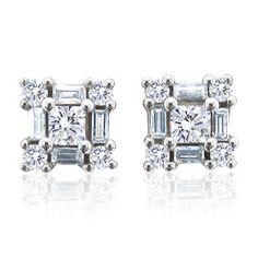14k White Gold Round, Baguette, Princess Cut Diamond Earrings Studs (GH, I1-I2, 0.52 carat) $439.99