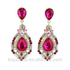 Summer 2014 Fashion Gracefule Shiny Women Colorful Rhinestone Beads Flower  Alloy Luxury Women Wedding Earrings $5.19
