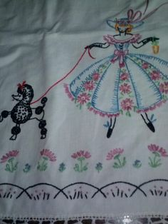 Vintage southern belle poodle embroidered table runners dresser scarf crochet
