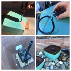 DIY Water fountain!  This is an easy two day project to add a simple water feature to your outdoor scenery. What you'll need to do is cut the water pump power cord so you can use a much smaller drill bit. Reconnect it to a new three-prong plug. I placed the new connection in a weather proof capsule and buried it under some river rock. You'll need to seal all the holes and gaps so use 100% silicone and allow a full 24 hrs to cure. I put a timer on the outlet so at least the pump won't be…