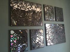 DIY broken mirror mosaic  Things needed : 1)Canvas 2)Broken Glass 3)Grout