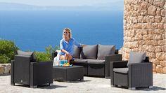 Sonneninsel Polyrattan Garten Lounge, Chill Out Sofa Mit Baldachin  (195x115x140 Cm), Schwarz, Aluminiumgestänge, Mit Sitzpolster Und 6 Kissen  Beigeu2026