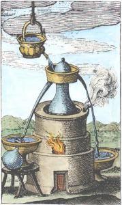 17th Century Engraving Of Distillation Apparatus