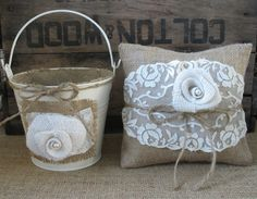 Flower Girl Basket/Bucket Ring Bearer Pillow Set Shabby Chic Wedding Rustic Wedding Burlap and Lace $60  TheShabbyChicWedding on ETSY