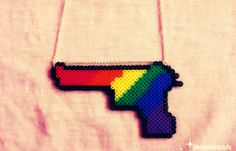 Rainbow Gun Perler Beads Necklace by obscurepastels on Etsy, $10.00
