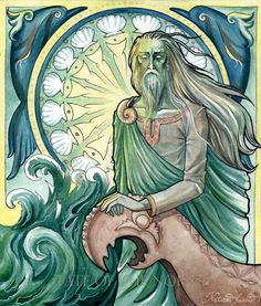 In Norse mythology, Njörðr is one of the principal gods of the Vanir tribe of deities, father of Freyr and Freya. He's associated with sea, seafaring, wind, fishing, wealth, and crop fertility, and his abode is Nóatún. Nataša Ilinčić watercolour. Artwork for Fate of the Norns.
