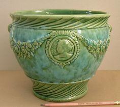 Antique 1930s Brush McCoy Cameo Jardiniere 273 Majolica Pottery Vase Flower Pot | eBay