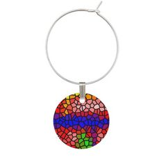 Stylish mutlicolored stained glass Wine Charm