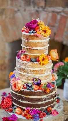Bolos Naked Cake, Naked Cakes, Pretty Cakes, Beautiful Cakes, Amazing Cakes, Stunningly Beautiful, Bolo Nacked, Summer Wedding Cakes, Cake Wedding