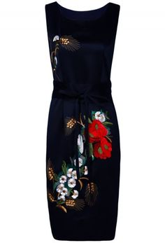 Navy Round Neck Sleeveless Embroidered Belt Dress