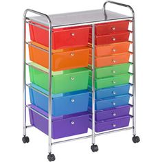 ECR4Kids 15-Drawer Mobile Organizer, Multi-Colored $75.00