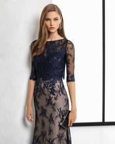 Long lace cocktail dress with sheer-effect three-quarter sleeves, in silver/nude, black/nude and navy blue/nude. Ballroom Costumes, Ballroom Dress, Evening Dresses, Formal Dresses, Lace Dress, Ideias Fashion, Cold Shoulder Dress, Style Inspiration, Fashion Trends