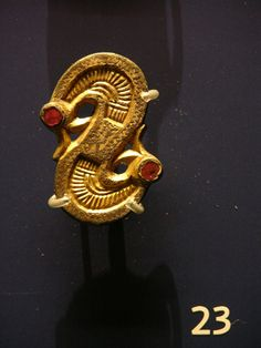 The Ashmolean Museum. Photographs courtesy Lindsay Kerr. Cabinet F No23 One of a pair of S-shaped brooches. Gilt copper alloy and garnet. Frankish, 500-600, Marchelapot, France.