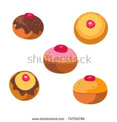 Printed Tee, t shirt graphic concept  Tasty donut with jam symbol isolated on white background. Hanukkah celebration sign concept, cookies icons set traditional food for Hanukkah Holiday Israel, logo vector illustration. Donuts pattern