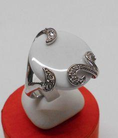 925 Silberring mit weißem Achat und Kristalle 196 von Schmuckbaron