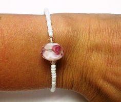 Rose & White Beaded Bracelet by OneSEC on Etsy, $8.50