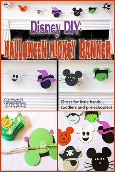 Disney DIY Halloween Mickey Head Banner http://www.capturingmagicalmemories.com/halloween-disney-banner/