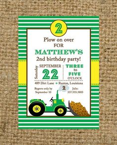 Tractor and Dirt Bulldozer Green and Yellow - John Deere Party Theme
