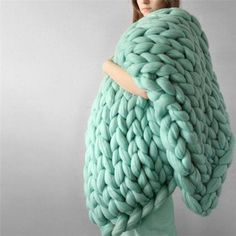 Soft Warm Hand Chunky Knit Blanket Thick Yarn Wool Bulky Bed Spread Throw is fashion & kawaii, see other throw blanket on NewChic Mobile. Chunky Knit Throw Blanket, Hand Knit Blanket, Blanket Crochet, Thick Yarn, Chunky Yarn, Chunky Knits, Knitted Blankets, Merino Wool Blanket, Diy Trend