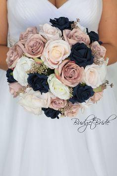 DIY Wedding Bouquet - dust rose mauve navy blue blush pink roses fake bridal bouquet round Wedding B Fake Wedding Flowers, Diy Wedding Bouquet, Bride Bouquets, Wedding Colors, Navy Bouquet, Navy Color Wedding, Vintage Wedding Flowers, Rose Bridal Bouquet, Flower Bouquets