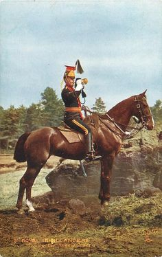 British; 5th Royal Irish Lancers, Trumpeter, Review Order, c.1907. First appeared in Tuck's 1908-09 catalogue