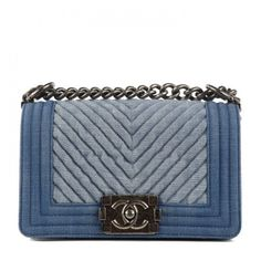 1af476c75f7f CHANEL Denim Chevron Small Boy Flap Blue ❤ liked on Polyvore featuring bags