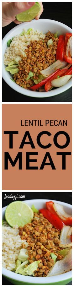 Lentil Pecan Taco Meat: a vegan and gluten free Meatless Monday meal that requires 8 ingredients and only 20 minutes! || fooduzzi.com recipes