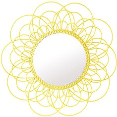 Pols Potten Daisy Mirror - Yellow (7.640 RUB) ❤ liked on Polyvore featuring home, home decor, mirrors, mirror, circle, backgrounds, decor, circular, yellow and borders