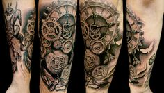 Biomechanical Clock Tattoos | metal clockwork – Tattoo Picture at CheckoutMyInk.com